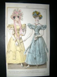 Townsend's Quarterly C1828 Hand Col Regency Fashion Print 165